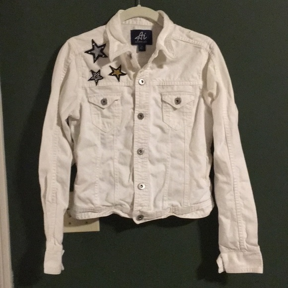 Authentic Icon Jackets & Blazers - White jean jacket with star appliqué